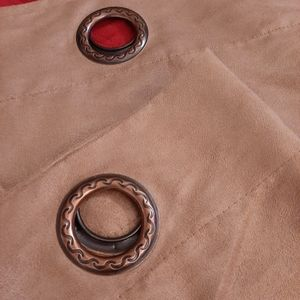 Pair of Brown Faux Suede Grommet Panel Curtains